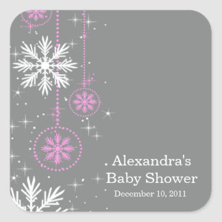 Elegant Snowflakes Pink & Grey Baby Shower Square Square Sticker