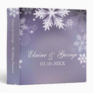 Elegant snowflakes purple winter Wedding Planner Vinyl Binder