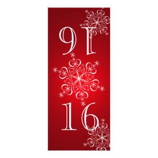Elegant Snowflakes Red Table Number Invitations