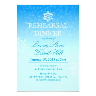 Elegant Snowflakes Winter Wedding Rehearsal Dinner 5x7 Paper Invitation Card