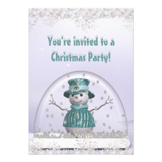 Elegant SnowGlobe & Snowman Christmas Party Invites