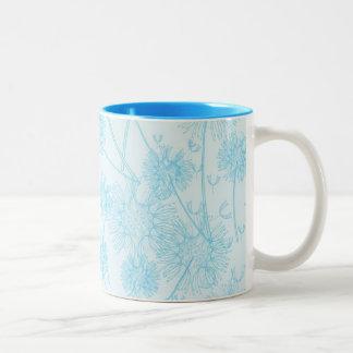 Elegant Soft Blue Dandelion Mugs