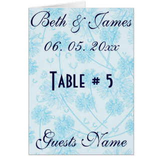 Elegant Soft Blue Dandelion Wedding Table # & Menu Card
