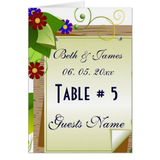 Elegant Soft Floral Vines Wedding Table # & Menu Card