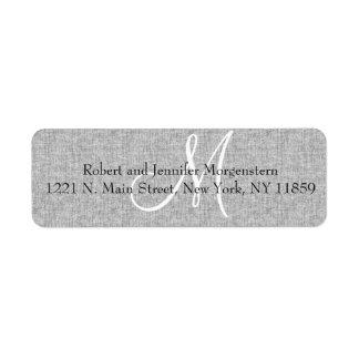 Elegant Soft Gray Linen Monogram Address Labels