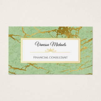 Elegant Soft Green and Faux Gold Marble Accountant Business Card