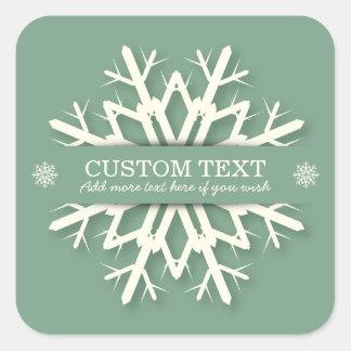 Elegant Soft Green Custom Snowflake Christmas Square Sticker