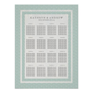Elegant Soft Green Seigaiha Wedding Seating Chart