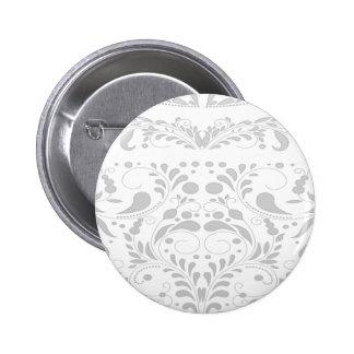 Elegant soft grey damask pinback buttons