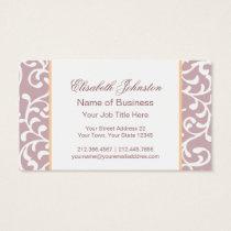 Elegant Soft Lilac Damask Feminine Floral Business Card