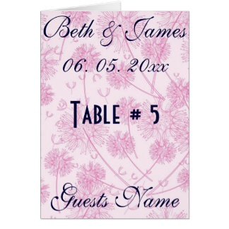 Elegant Soft Pink Dandelion Wedding Table # & Menu Card