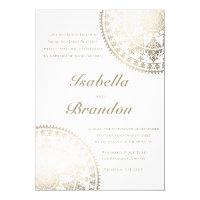Elegant Solar Mandala Wedding Invitations Gold