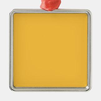 Elegant Solar Power Yellow. Fashion Color Trending Square Metal Christmas Ornament