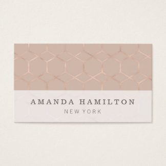 Elegant sophisticated rose gold hexagon BEAUTY Business Card
