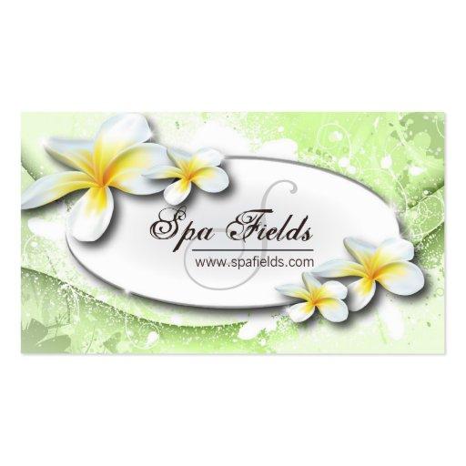 Elegant Spa Business Card Green White Plumeria