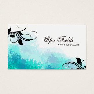 Elegant Spa Manager Business Card Teal Blue Swirl