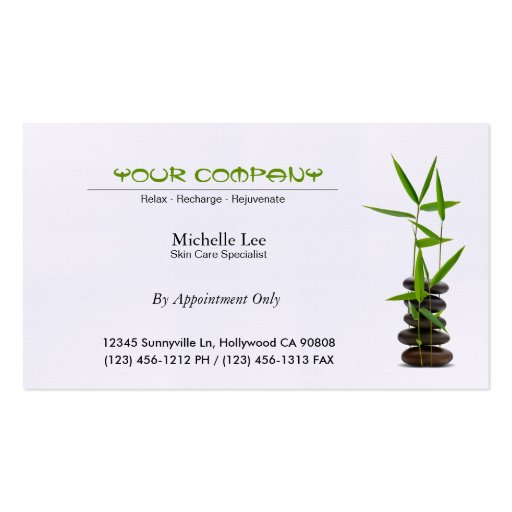 Elegant Spa / Skin Care / Massage Zen Business Card Template