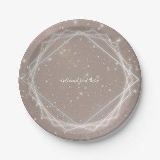 Elegant Sparkle Modern Geometric Glam Chic Party Paper Plate