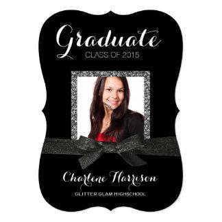 "Elegant Sparkle Ribbon Photo Girl Graduation 5"" X 7"" Invitation Card"