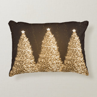 Elegant Sparkling Christmas Trees Gold Brown Decorative Pillow