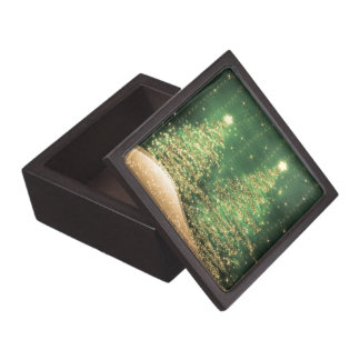 Elegant Sparkling Christmas Trees Green Jewelry Box