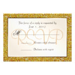 Elegant Sparkling Gold Sweet 16 Glitter RSVP Invitations