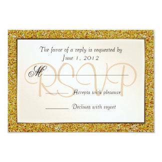 Elegant Sparkling Gold Sweet 16 Glitter RSVP 3.5x5 Paper Invitation Card