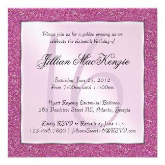 Elegant Sparkling Pink Sweet 16 Glitter Invite
