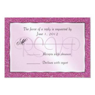 Elegant Sparkling Pink Sweet 16 Glitter RSVP Card