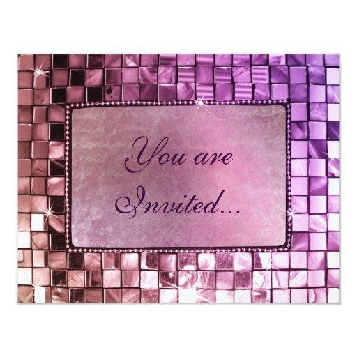 Elegant Sparkling Purple Custom Frame Invitations