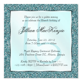 "Elegant Sparkling Teal Sweet 15 Glitter Invite 5.25"" Square Invitation Card"