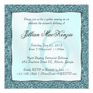 Elegant Sparkling Teal Sweet 16 Glitter Invite