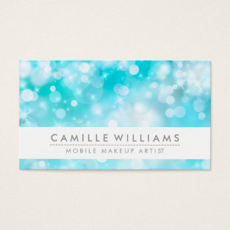 ELEGANT SPARKLY LIGHT whimsical aqua blue bokeh Business Card
