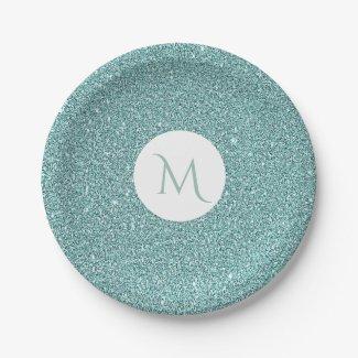 Elegant Sparkly Sage Green Glitter Look Monogram