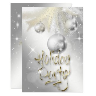 Elegant Sparkly Silver and Gold Holiday Party Invitation