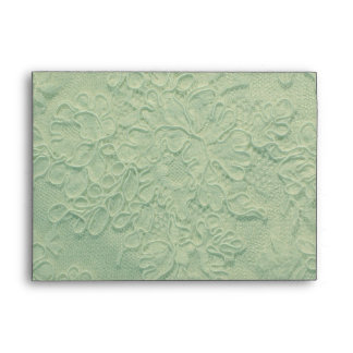 Elegant Spearmint Green Lace Wedding Envelope