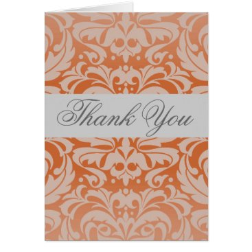 Professional Business Elegant Spice Damask Silver Ribbon Thank You Card