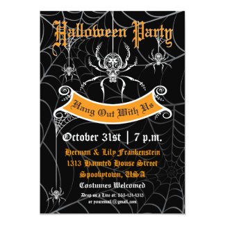 "Elegant Spider Halloween Party Invitation 5"" X 7"" Invitation Card"