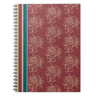 Elegant Spiral Notebook, Maroon, Blue Floral