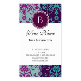 Elegant Split Damask Pattern with Monogram Business Cards