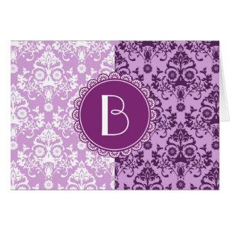 Elegant Split Damask Pattern with Monogram Greeting Cards