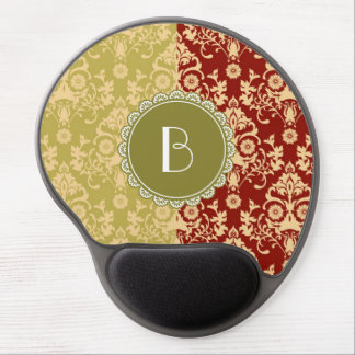 Elegant Split Damask Pattern with Monogram Gel Mouse Pad