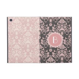 Elegant Split Damask Pattern with Monogram iPad Mini Cover