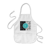 Elegant Split Damask Pattern with Monogram Kids' Apron