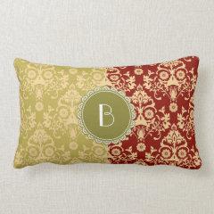 Elegant Split Damask Pattern with Monogram Pillows