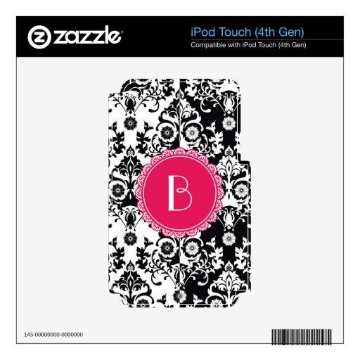 Elegant Split Damask Pattern with Monogram iPod Touch 4G Skins