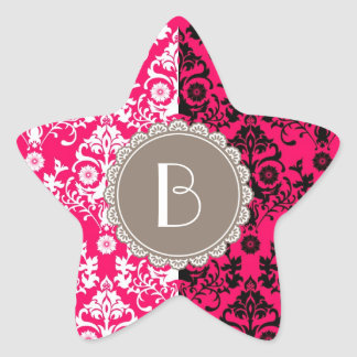 Elegant Split Damask Pattern with Monogram Star Sticker
