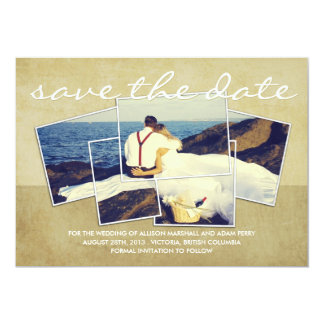 Elegant Split Photo with Frames Save the Date Card