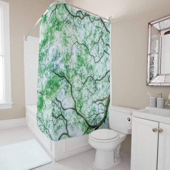 Elegant Spooky Leaves & Branches Shower Curtain