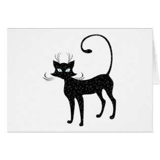 Elegant Spotted Black Cat Greeting Card